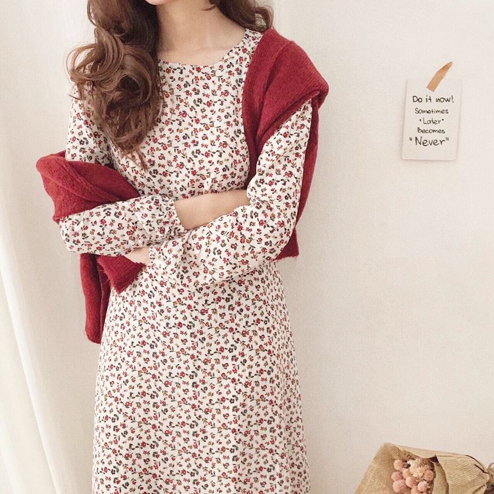 Váy hoa nhí cổ tròn dài tay, Đầm vintage thời trang công sở Hàn Quốc thiết kế mẫu mới