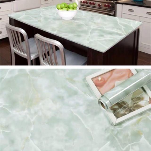 Decal dán tường giả đá trắng vân xám keo sẵn chống nước tuyệt đối khổ lớn 60cm x5m