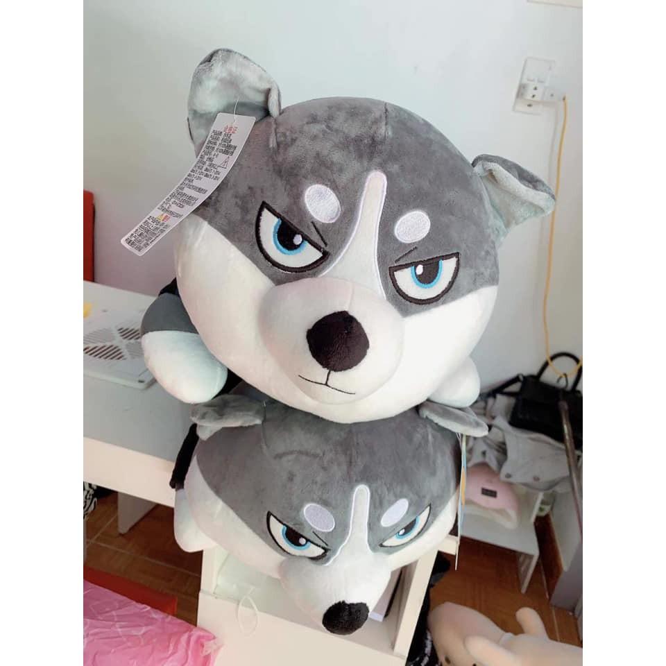 Gấu bông chó Husky hơi cáu áo kẻ kích thước 1m2 -1m5- 1m8