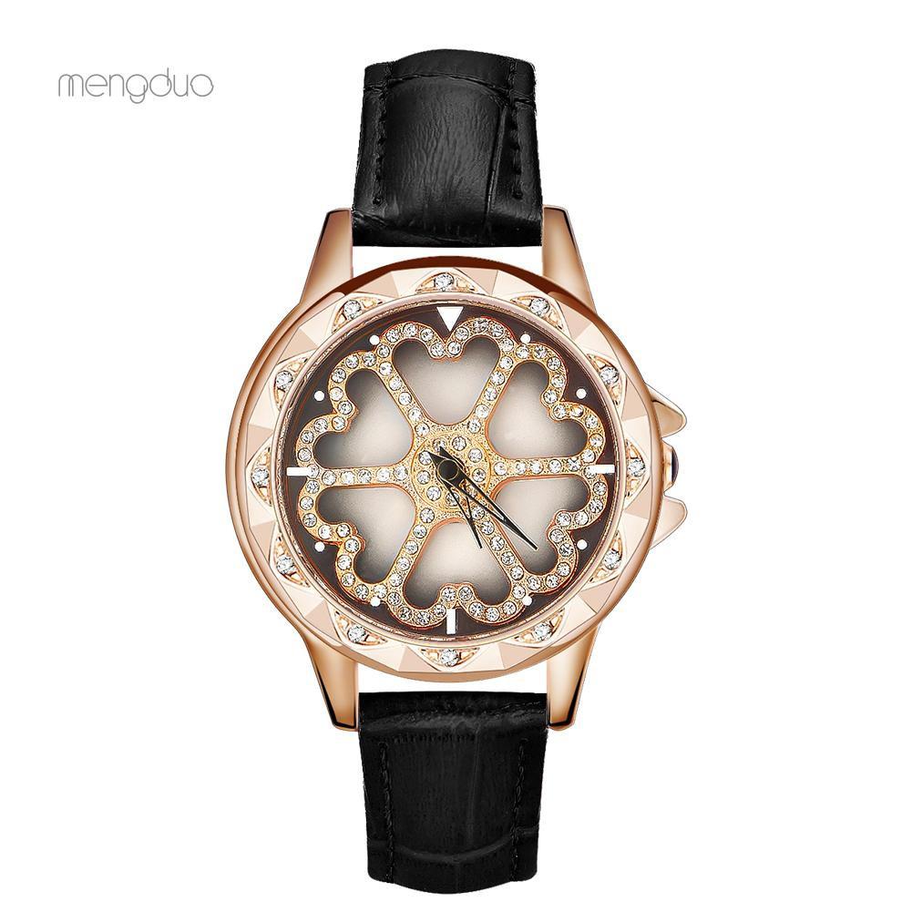 Đồng hồ kim mặt tròn dây da thời trang nữ tính