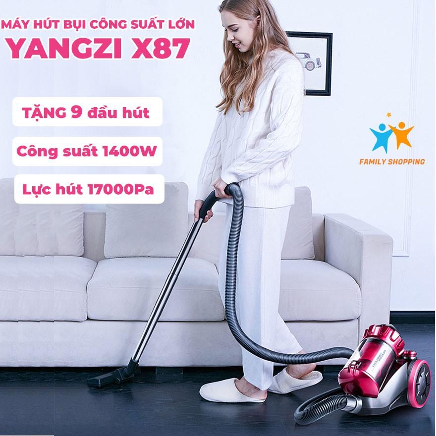 Máy hút bụi gia đình Yangzi XC87 công suất lớn 1400W TẶNG 9 ĐẦU HÚT lực hút 17000Pa hút sạch bụi bẩn trên mọi địa hình