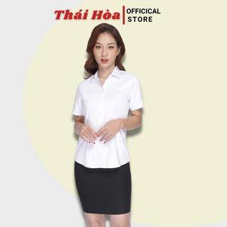 Áo sơ mi nữ công sở ngắn tay màu trắng vải sợi tre siêu thoáng -Sơ mi nữ Thái Hòa N8919-01-01 thumbnail