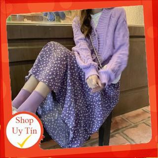 (ORDER) Chân váy hoa nhí midi màu tím retro dáng dài style vintage Hàn Quốc điệu đà mùa hè