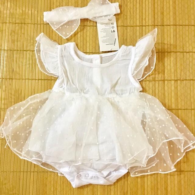 Sét váy cánh tiên đầy tháng/ thôi nôi cho bé gái (kèm Turban) trắng và vàng