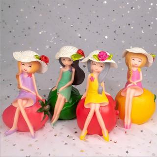 Bộ 4 cô gái hoa quả tran trí bánh -cao 13Cm, topper cake