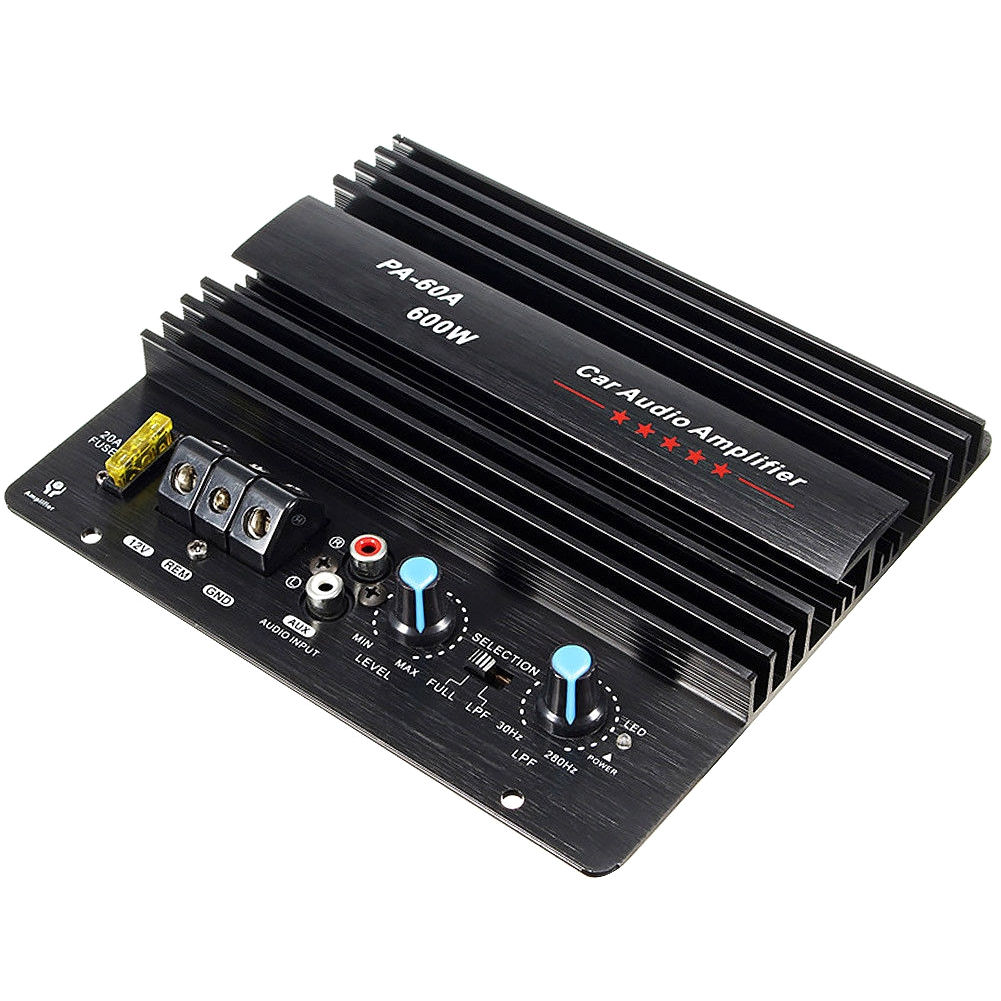 12V 600W PA-60A Subwoofer Car Audio High Power Mono Channel Lossless Amplifier Board