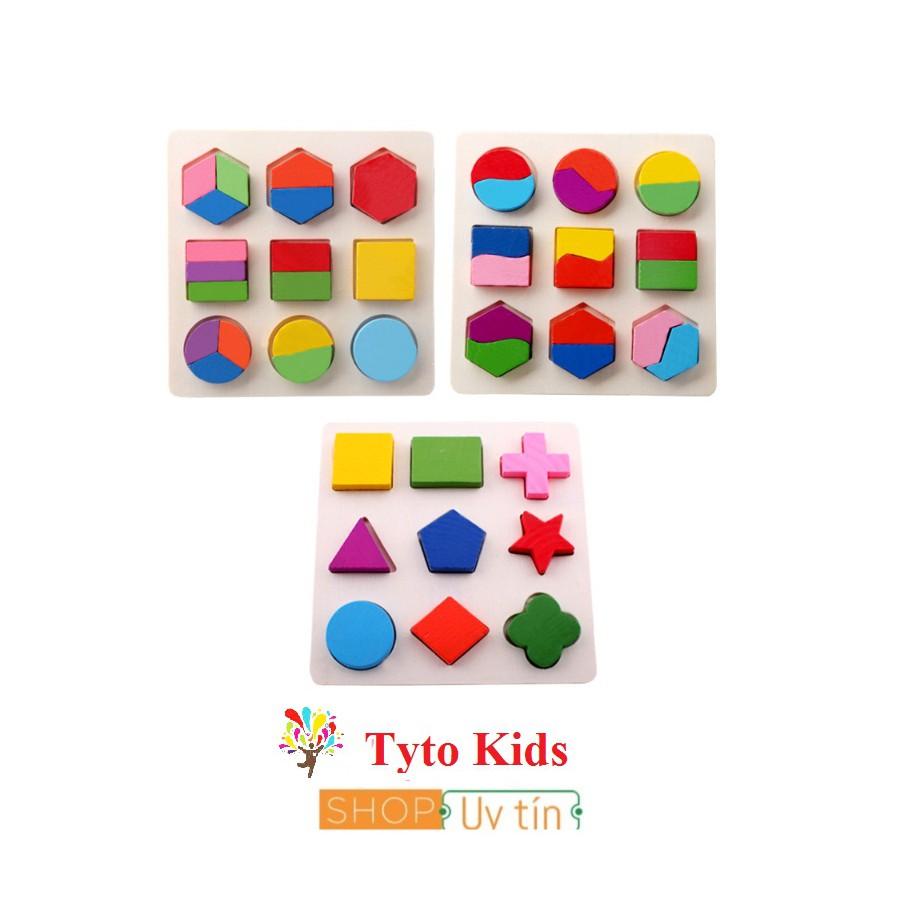 Combo 3 bộ lắp ghép hình học gỗ - đồ chơi gỗ an toàn trí tuệ cho bé