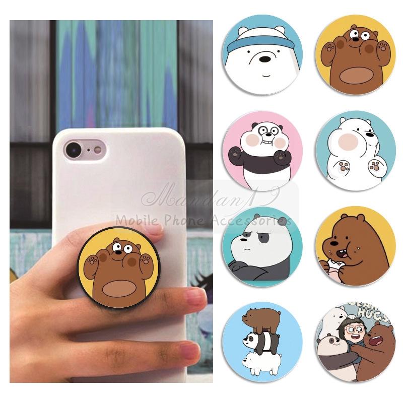 Giá đỡ điện thoại dạng vòng túi khí hoạ tiết chú gấu đáng yêu