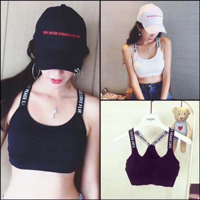Áo bra nữ , áo tập gym quai in chữ thể thao mã 5043