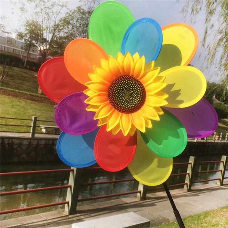 WM Sunflower Windmill Wind Spinner Rainbow Whirligig Wheel Home Yard Decoration New