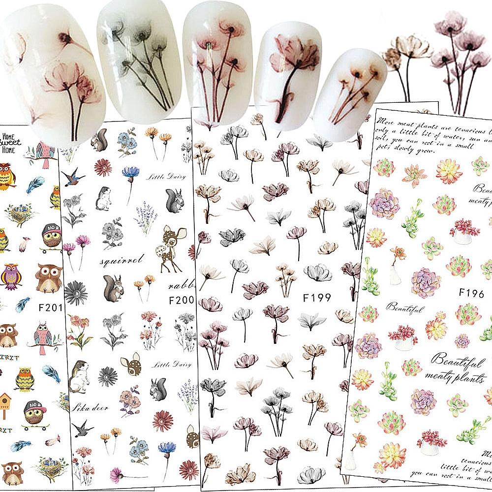(Hàng Mới Về) Nhãn Dán Trang Trí Móng Nghệ Thuật Họa Tiết Hoa 3d Diy