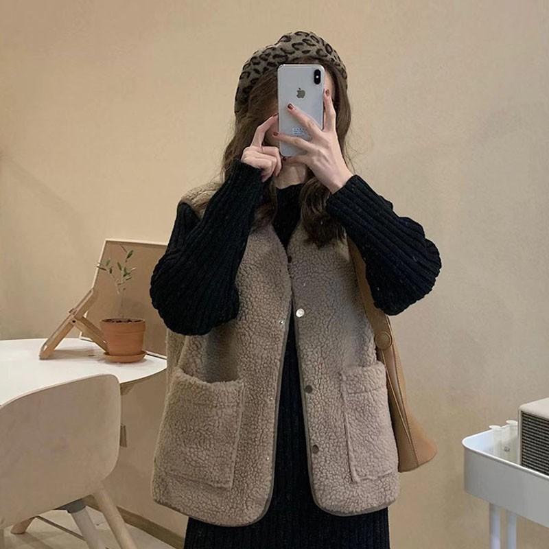 (ORDER) Áo khoác Gile nữ giả lông cừu Style Korea ấm áp