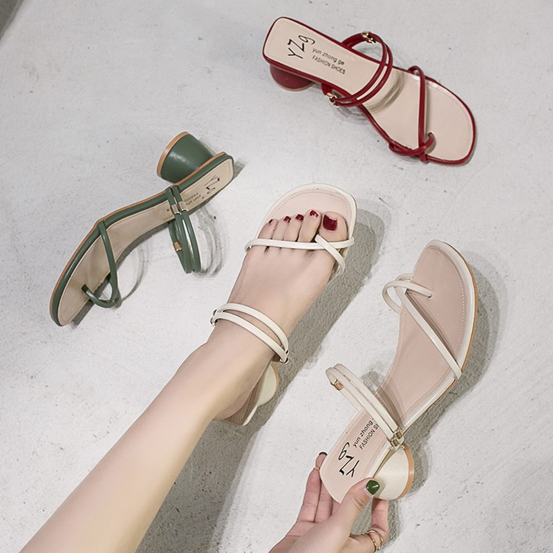 Net red two wear sandals and slippers women wear 2019 summer new thick with mid-