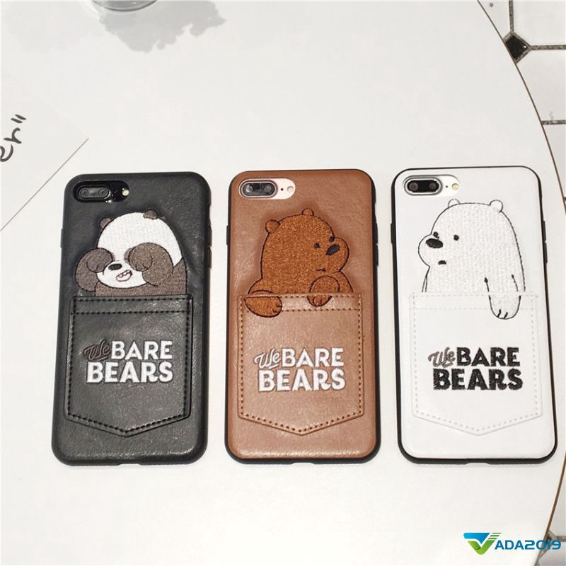 Ada2019 Naked Bear Card Pocket Phone Case for iPhone X 6 6S 7 8 Plus .