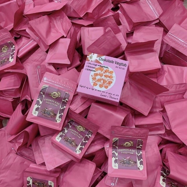(Full Hong)Kẹo Socola Đan Mạch Hồng Hộp 40 Viên Mới Nhất Chính Hãng Giảm Cân Hiệu Quả An Toàn