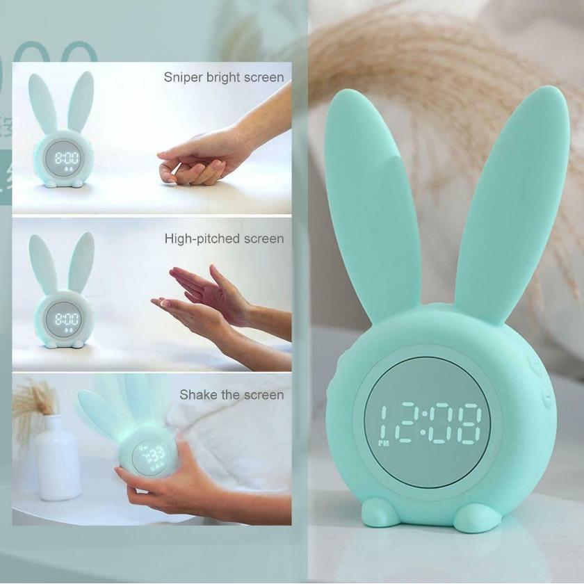 Đồng hồ báo thức hình thỏ dễ thương có đèn LED và cảm biến nhiệt độ