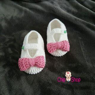 giày len trắng phối nơ xinh