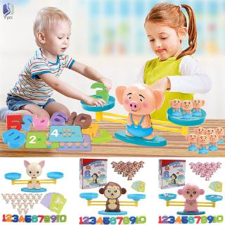 Yy Monkey/Pig/Dog Toy Balance Cool Math Table Game Fun Educational Gift for Girls Boys @VN
