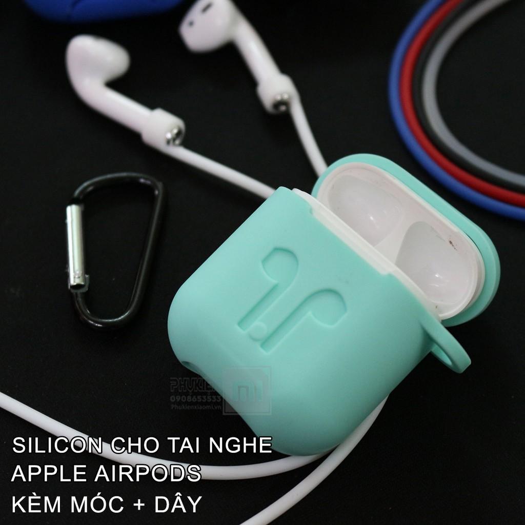 Túi Silicon Cho tai nghe AirPods xanh ngọc + kèm móc + dây đeo