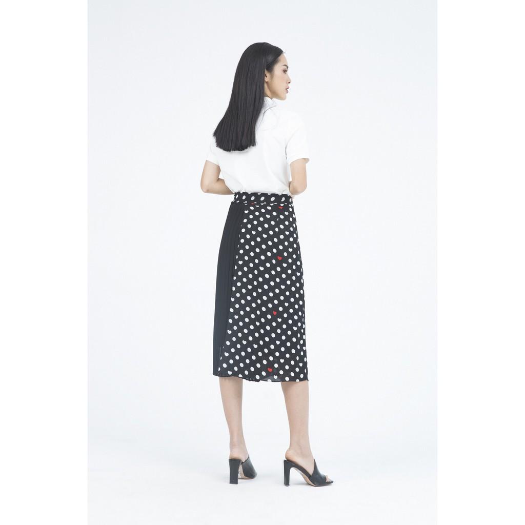 Ivy moda Chân Váy midi 2 lớp xếp li phối họa tiết chấm bi MS 31M4713
