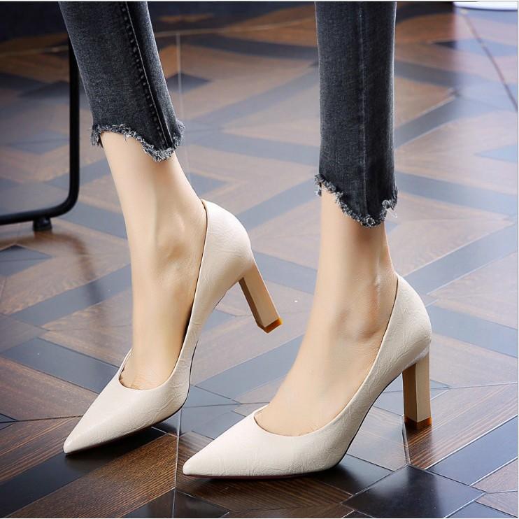 Giày bít mũi gót trụ vuông  - Giày cao gót 6,5cm - Giày cao gót 9cm - Giày nữ gồm 2 màu - Linus LN298