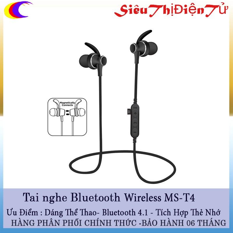 TAI NGHE BLUETOOTH Wireless MS T4 V4.2 Hỗ Trợ Cắm Thẻ Nhớ TF