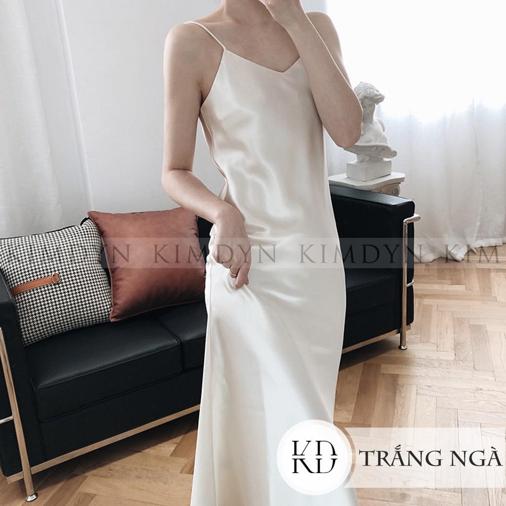 Váy hai dây Đầm hai dây lụa satin cổ chữ V sang trọng [KDD19]