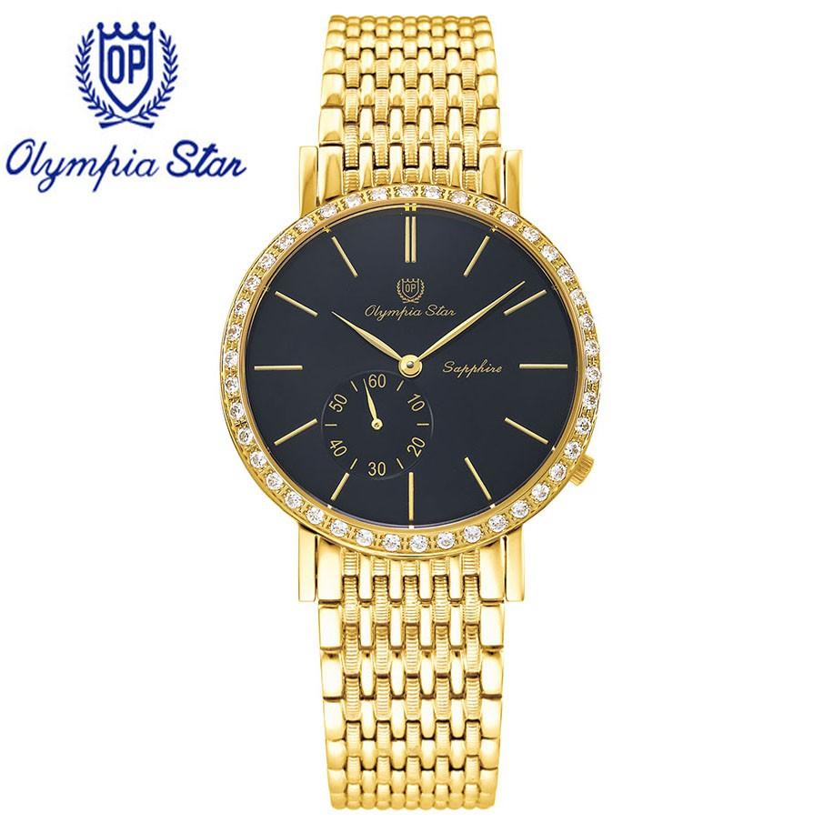 Đồng hồ nam dây kim loại mặt kính sapphire chống xước Olympia Star OPA58012-07DMK-D