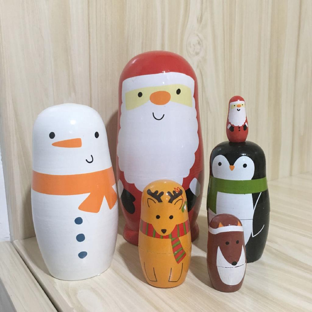 ✒Russian set 6-storey snowman brother children puzzle toys Creative Decoration holiday gifts Pure Handmade