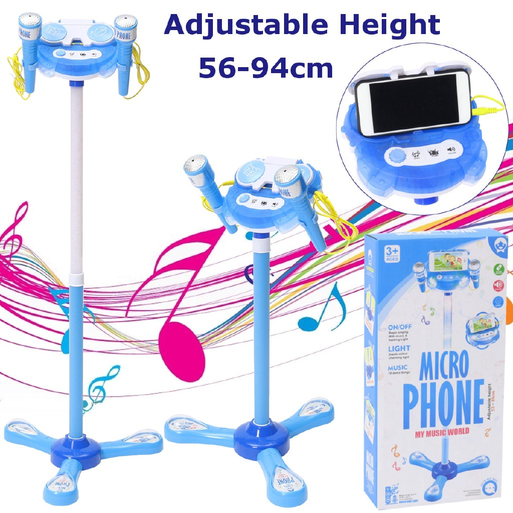 New Kids Music Play Toys Set Adjustable Stand With 2 Microphone