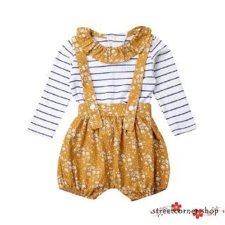 ✿Sc♚Toddler Baby Girl Peter Pan Collar Long Sleeve Stripe Ruffle T-Shirt Tops+ Bib Shorts Suspender Pants Clothing