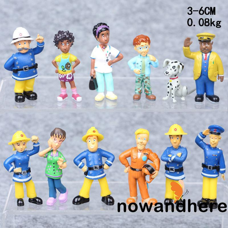 RON-3-6cm Fireman Sam 12Pcs Figure Toys Elvis Steele Norman Tom PVC Dolls Kids