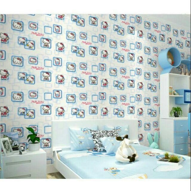 Giấy dán tường ô vuông kitty xanh – khổ rộng 45cm – Giấy dán tường