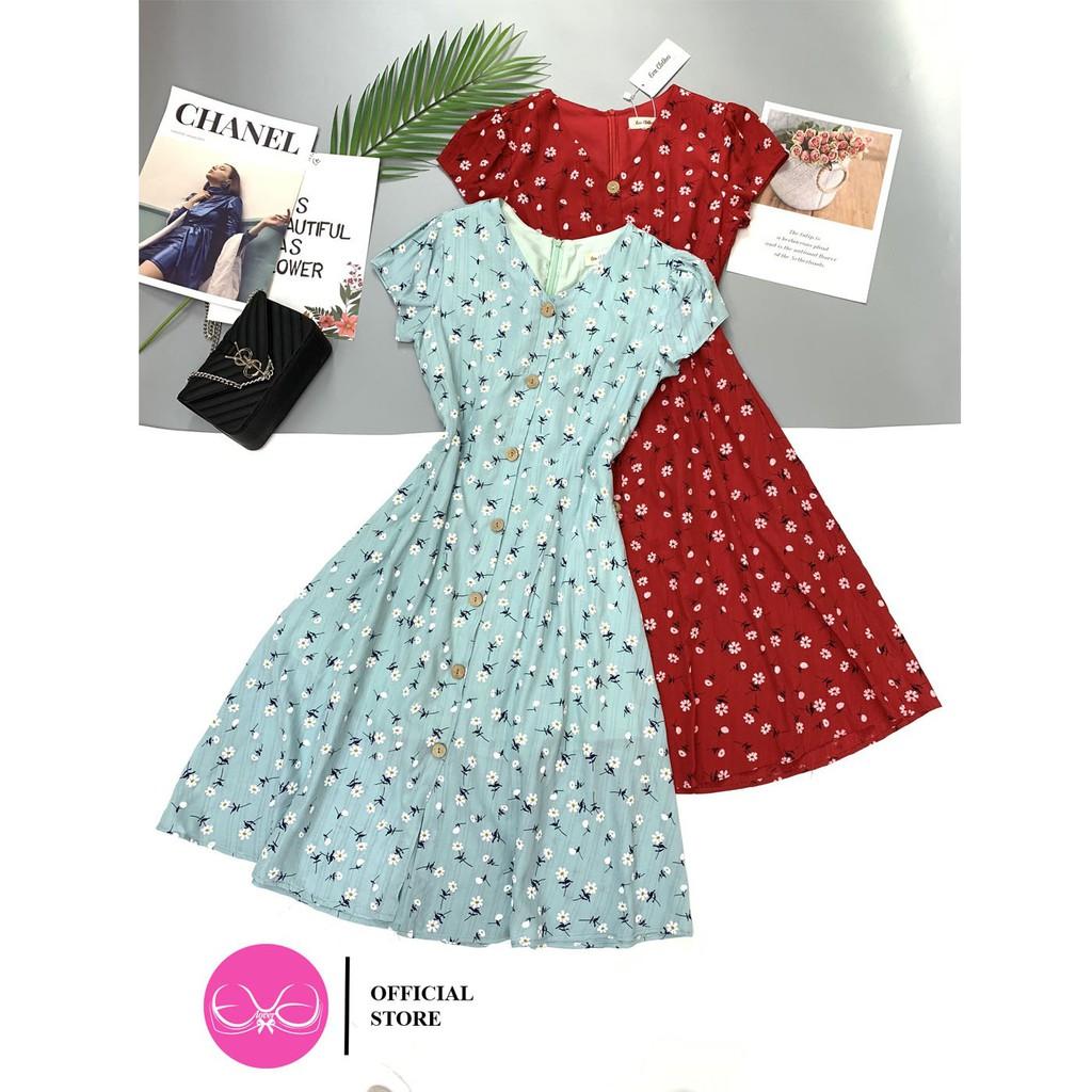 Mặc gì đẹp: Tung bay với Váy Xòe Hoa Nhí ,Đầm Dáng Xòe Voan Hoa Nhí Cổ Tim Evalover