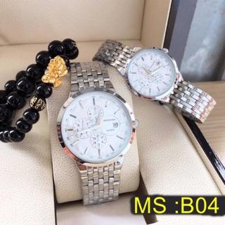 Đồng hồ nam nữ baishuns dây màu bạc phong cách thumbnail