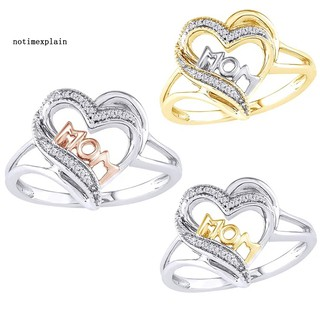 NAME Fashion Dual-color Heart Zirconia Finger Ring Mom Birthday Jewelry Gift Decor