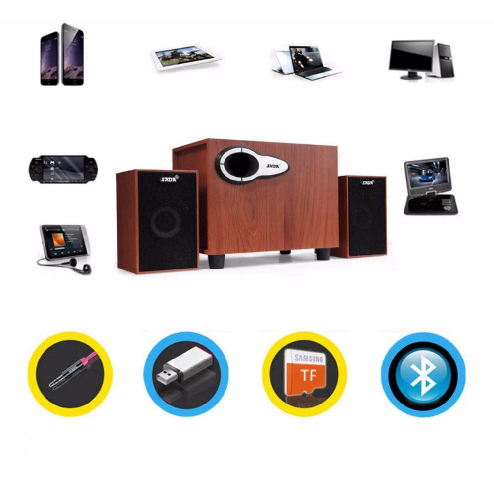 Bộ Loa Máy Tính SADA D222 Hỗ Trợ Bluetooth, Usb, Thẻ nhớ