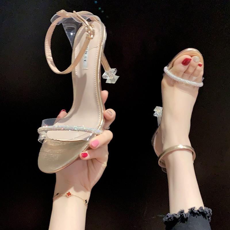 Giày Cao Gót Quai Mảnh Đính Đá Thời Trang Hè 2020 Cho Nữ