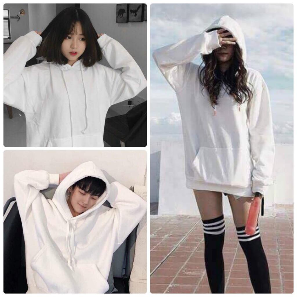 [ĐỦ SIZE - Kèm hình thật] Áo hoodie nỉ trắng basic white unisex