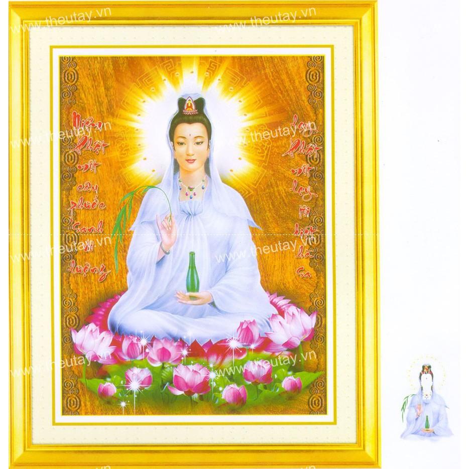 Tranh đính đá kim cương ABC Niệm Phật Một Câu Phước Sinh Vô Lượng, Lạy Phật Một Lạy Tội Diệt Hà Sa D