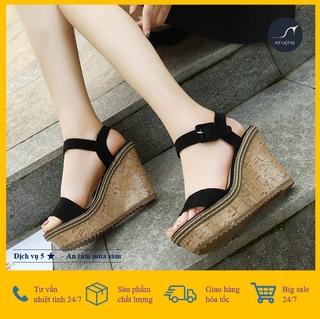 [Giá hủy diệt] [ ẢNH THẬT ] Giày Sandal Nữ Đế Xuồng Quai Ngang Đế Vân Gỗ Thời Thượng Hàn Quốc 9cm