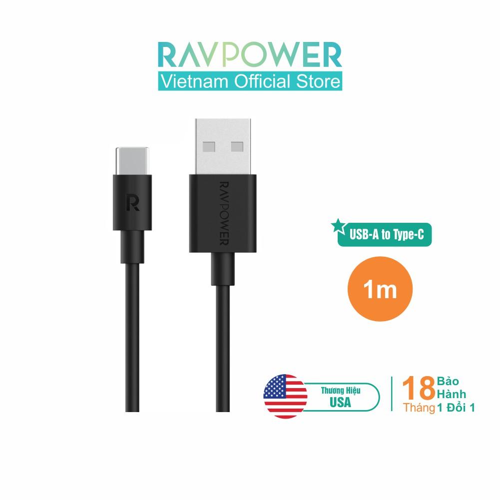 Dây Cáp Sạc Type C RAVPower 1m (USB A - Type C) - RP-CB044 - Hãng Phân Phối Chính T
