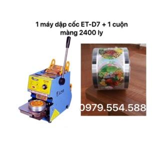 Tặng cuộn màng 2400 cốc – Máy ép miệng ly, dập cốc ET-D7 (700ML)