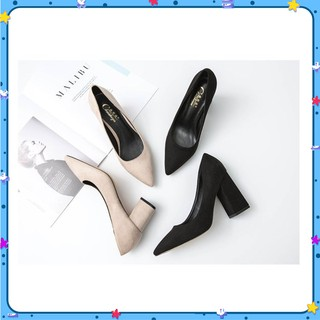 Giày da lộn hai màu đen và kem kiểu dáng công sở mã LN_C48 thumbnail