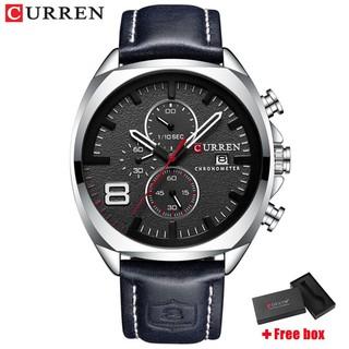 Đồng hồ Quartz CURREN 8324 với dây đeo bằng da chống thấm nước thời trang