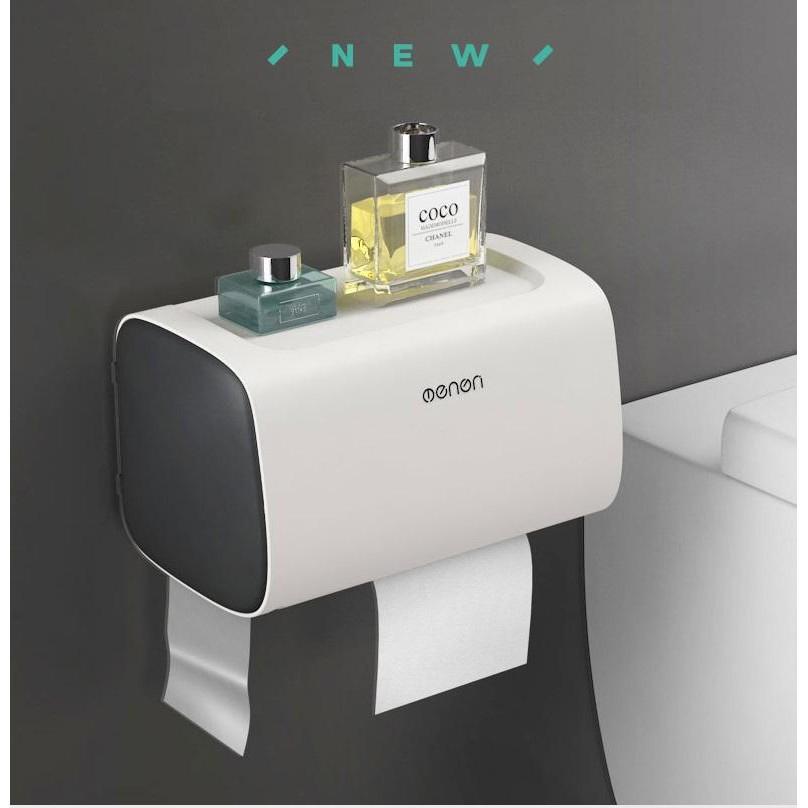 Hộp đựng giấy vệ sinh cao cấp Oenon lắp đặt dán tường hình chữ nhật chống nước có chỗ để điện thoại đa năng