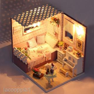 DIY Miniature Accessories Kit with Furniture,LED Light – Bedroom Living Room