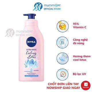 Sữa Dưỡng thể Nivea Extra White Lotion Cooling Lotus 525ml Thái Lan, da sáng mịn, da mát