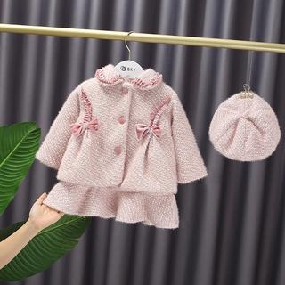 Bộ Trang Phục Hai Mảnh Gồm Áo Khoác Và Đầm Thời Trang Phong Cách Hàn Quốc Dành Cho Bé Gái