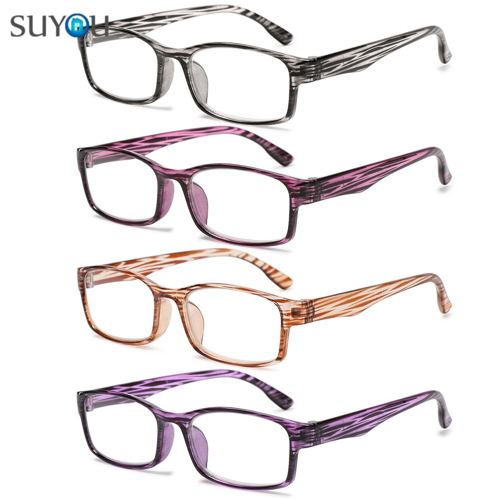 SUYOU Fashion Optical Spectacle Diopter + 1.0 + 4.0 Presbyopic Eyewear Reading Glasses Printed Frame Far Sight UltraLight Unisex Relieve...